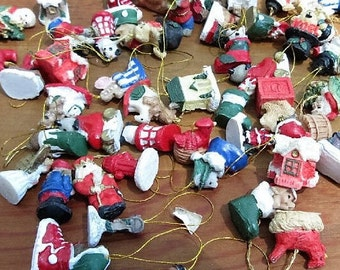 Assortment of Tiny Miniature Christmas Ornaments/Ceramic Painted Lot of Town and City Life Ornaments/Vintage Lot of Tiny Miniature Ornaments