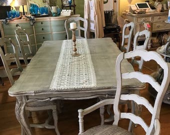 "SOLD to Joseph... The ""Arabella"" Vintage French Country Dining Table and Chairs"