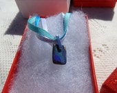 """Boulder Opal Necklace  """" Ombre' """"  8.50 Carats, Sterling Silver Pinch Bail, Ribbon Necklace"""