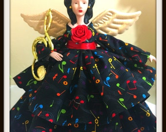 Asian Inspired Angel, Music Themed Angel Doll, Porcelain OOAK Tree Topper, Musical Notes Tree Topper, Home and Office Decoration
