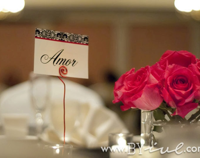 Wedding set, table number wedding decor, wire card holder, christian wedding decor, Custom names
