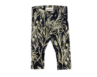Growing Garden Leggings Gold on Black - Printed Leggings - Organic - Kid's Leggings - Baby Gift - Eco - Slow Fashion - Thief&Bandit®