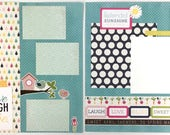 Pre-made Spring Scrapbook Page Layout 2 pages 12x12 Spring Friends Family Everyday