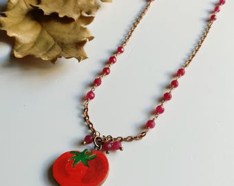 Tomato necklace Wire wrapping necklace Vegetable necklace Woodland parade Chanel inspired Tomato pendant Nature jewellery Food Jewelry