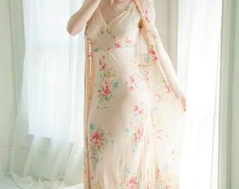 Vintage 1930s floral dress set, pink two-piece midi bias cut midi, pink peach pastel, sheer garden S