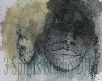 """Original art brut neo expressionist Mixed Media Small Drawing- """"Stalked"""""""