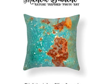 Green Rust Photo Pillow, Peeling Paint Photo Image Toss Pillow, Industrial Rust Urban Art Decor, Edgy Decor Green Rust Throw Pillow Cover
