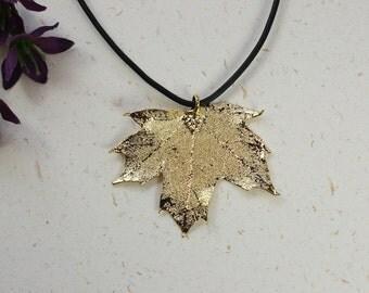 SALE Leaf Necklace, Gold Sugar Maple Leaf, Real Maple Leaf Necklace, Canadian Maple Leaf, Gold Leaf Pendant,SALE221