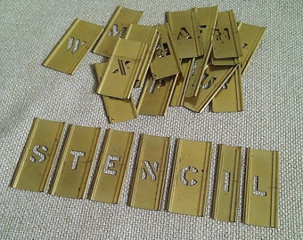 26 vintage brass letter stencils alphabet a z adjustable interlocking stencils signage