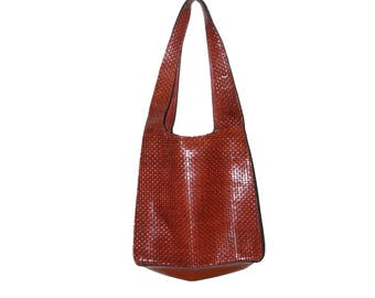 Vintage Lord & Taylor Tan Weave Leather Tote Purse Medium Size