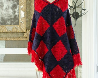 Vintage Crochet Poncho Red and Blue with Fringe