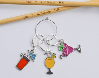 Tropical Drinks Progress Keeper Set Enamel Drink Charms Red Yellow Magenta Knitting Notions Knitting Jewelry Gifts for Knitters