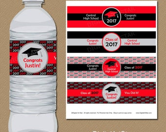 Personalized Graduation Party Decorations, Water Bottle Labels, College Graduation Labels, Class of 2017 Bottle Labels, Party Favor ideas G1