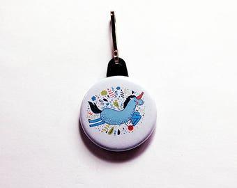 Unicorn Zipper charm, Unicorn Zipper pull, Stocking stuffer, backpack zipper pull, unicorn, blue, gift for kids, gift for child (7640)