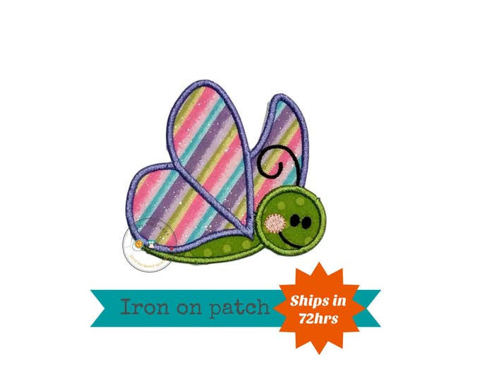 Pastel and glitter butterfly iron on patch, soft pastel machine embroidered heat press patch for clothing, quick shipping appliques