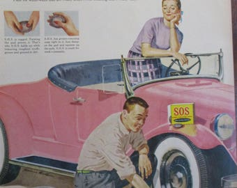 S.O.S. SCOURING PADS 1950's Original Vintage Advertising Antique Automobile White Wall Tires Vintage Cars Ready To Frame