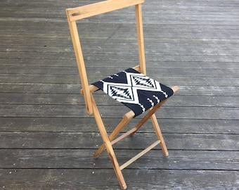 Vintage Camp Stool - Wool Seat - Black White Arrow Tribal Native Cross