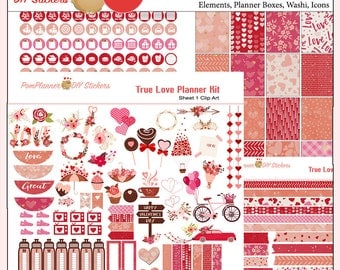 Planner Kit! True Love Printable Planner Stickers Kit  300 Stickers in Hearts, Flowers, Pink Green