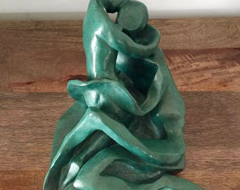Vintage signed sculpture of man and woman/Hand sculpted figurine