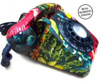 Tropical Floral Print Vintage Rotary Phone FULLY WORKING - Quirky Home Decor