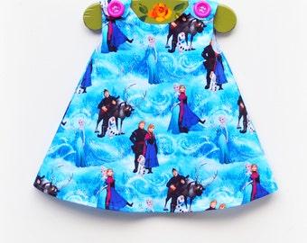 Last One - Frozen - Christmas Gift for Her - Girl Clothing - Disney Aline Dress - Disney Theme - Dress - Party Dress - KK Children Designs
