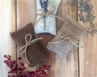 Burlap Sachets With Dried Lavender or Dried Rose Petals-3 Colors Available-Wedding & Party Favor-Rustic/Natural-Bridal Shower-Garden Wedding