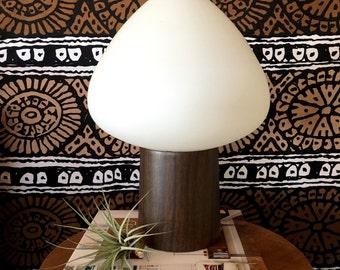 Mid Century Laurel Frosted Glass Mushroom Lamp