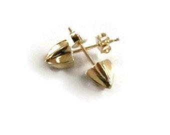 14K Spike Earrings, Solid  Gold Spike Studs, Small Gold Studs, Seed Pod Earrings, Artisan Handmade  by Sheri Beryl