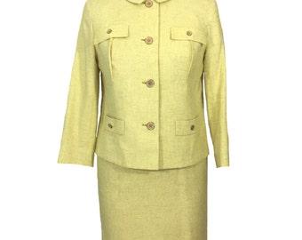 vintage 1950's yellow skirt suit / Weathervane for Handmacher / linen blend / jacket pencil skirt / women's vintage suit / size medium