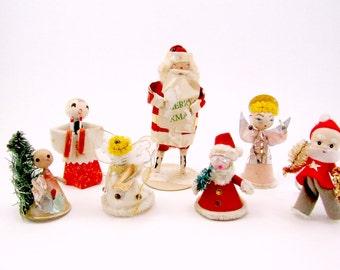 Vintage Spun Cotton Cardboard Angels Santas Choir Boy Christmas Decorations Ornaments