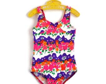 Little Girls Swimsuit, Vintage Swimsuit, Toddler Swimsuit, Girls Swimsuit, Girls Swimming Costume