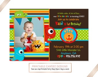 Monster 1st Birthday Invitation, Brown Monster Invite, Colorful Monster Party, Printable Monster