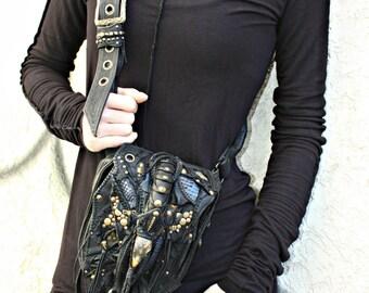 Leather Hip Bag, Black Pouch, Leather Pouch, Women Leather Bag, Hip Belt, Festival Bag, Burningman Pouch