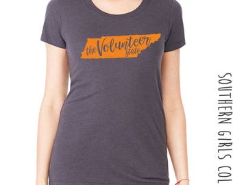 Volunteer State Short Sleeve Shirt - State of Tennesse Graphic Tee - Graphic Unisex Shirt - The Volunteer State - Southern Girls Collection