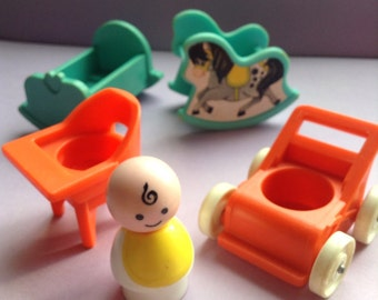 Fisher Price Little People Baby & Nursery, 5 pieces, baby / high chair / rocking crib / baby carriage / rocking horse, vintage toys, Greece