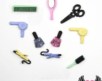 Jesse James Buttons 10pc A CUT ABOVE Hairdresser Stylist Buttons and Flatback Cabochons Scissors, Mirror, Hair Dryer, Nail Polish, Brush