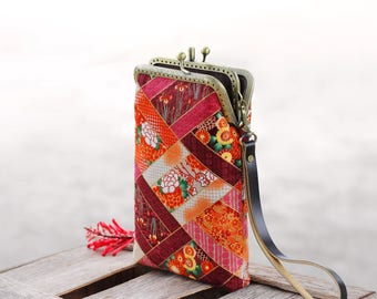Wristlet phone case two compartment, Japanese fabric, Eyeglasses case, iPhone 6 plus, Galaxy note