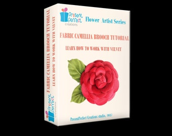 Camellia tutorial, fabric camellia tutorial, camellia template, velvet flower brooch, handmade camellia corsage, silk camellia tutorial