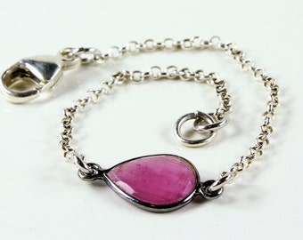 Pink Sapphire Bracelet, Sterling Silver, pinkish red gemstone link bracelet, modern chain bracelet, stackable, layered, gift for her, 3780