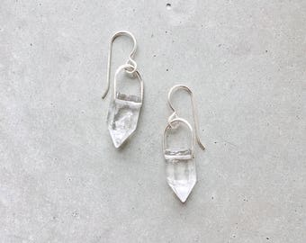 Crystal Arch Earrings / clear quartz point dangle earrings / 14k gold fill or sterling silver hooks