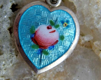 Sterling Silver Guilloche Enamel Heart Charm or Pendant, Robins Egg Blue, Handpainted Pink Rose, Small Pansy, Signed, Sweetheart or Keepsake