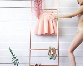 Handmade industrial copper rose gold tone clothes frame rack minimalist interior ladder stand clothing hanger