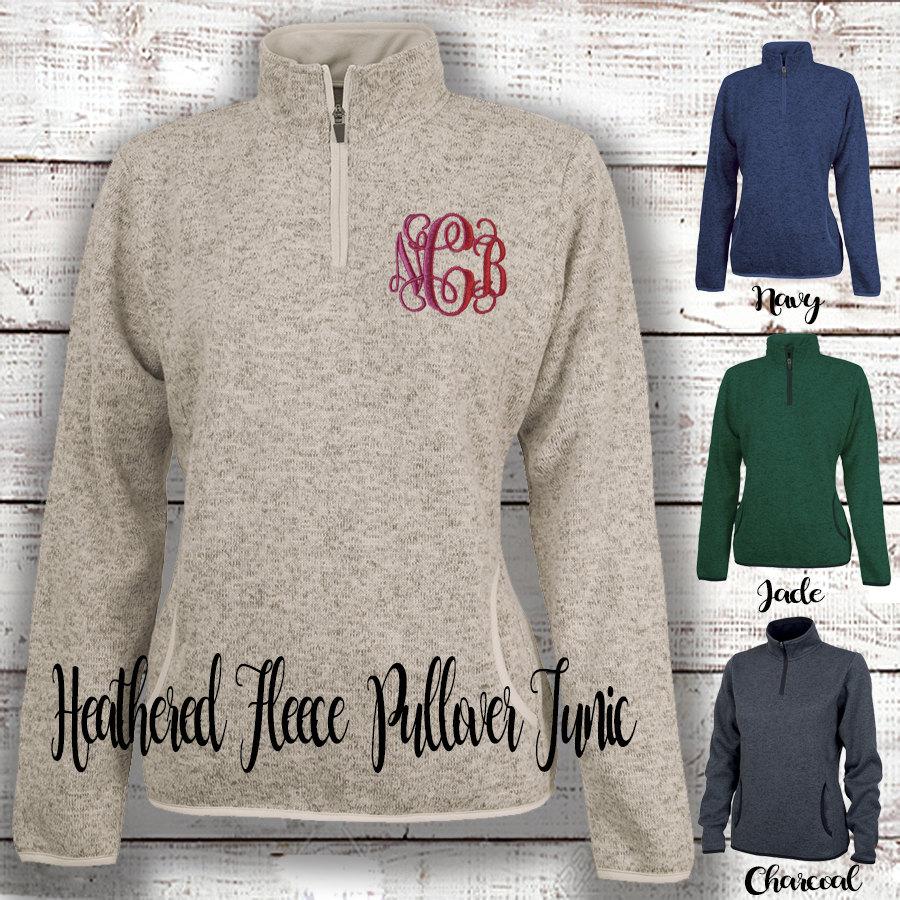 MONOGRAM HEATHERED Fleece Pullover Personalized 1/4 Zip