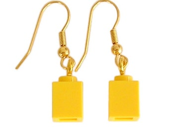 Yellow LEGO (R) brick 1x1 on a Silver/Gold plated dangle (hook)