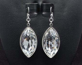 30% OFF - 32x17mm Clear Swarovski Faceted Marquise Earrings - SW8FP