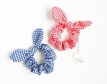 Kawaii Hair Ties Bunny ear bow hair scrunchies gingham check red or navy-bow scrunchies-chou chou-ribbon scrunchies-hair ties-made in NY
