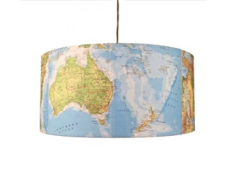 World Atlas lighting - hanging pendant light shade. Upcycled vintage maps.