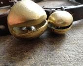Three bells for Lisa, sleigh bell, jingle bell, brass bell, heavy, rustic bell, rugged, brass, sturdy, strong, Crete, Greece