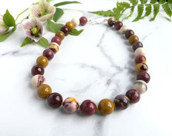 Moukite Autumn necklace. Hand knotted with Sterling Silver clasp