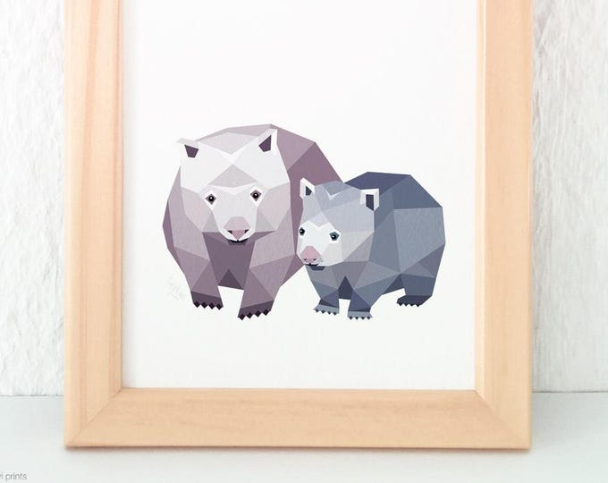 Wombat print, Wombat art, A2 Wildlife art, Australian wildlife, Australian animal, Children nursery art, Mother and baby, Baby animal art